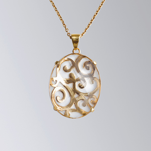 Gem Stones Pendant Large Oval Scrollwork Clarity Pendant with 18'' Chain April Venus New York Istanbul