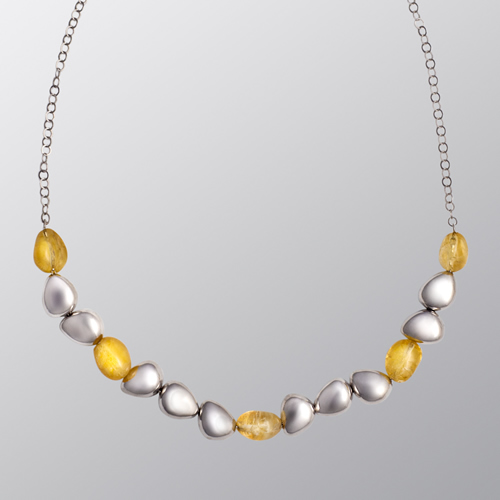 Sterling Silver Necklace Citrine Pebbles Necklace April Venus New York Istanbul