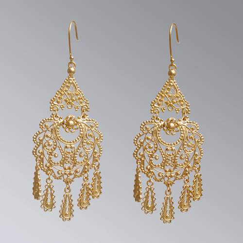 22k Gold over Bronze Earring Chandelier Filigree Earrings April Venus New York Istanbul