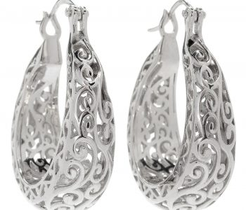 Scrollwork Hoop Artisan Earrings Sterling silver jewelry April Venus