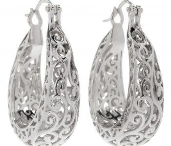 Scrollwork Hoop Artisan Earrings Sterling silver jewelry April Venus