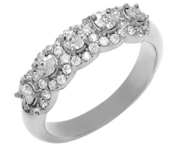 Diamond ring miracle set sterling silver with genuine zircon accents april venus