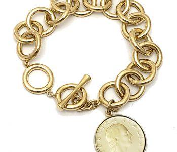 italian coin jewelry bracelet with 200 Liret April Venus