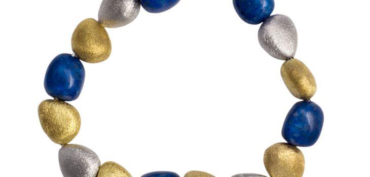 Lapis gold sterling silver bracelet by April Venus