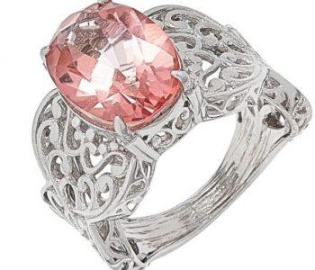 Morganite Quartz Scrollwork Ring April Venus Jewelry