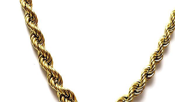 graduated rope chain necklace18k gold over sterling silver