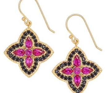 Lab Created Ruby Sapphire and Diamond Simulants 18k gold over sterling silver earring